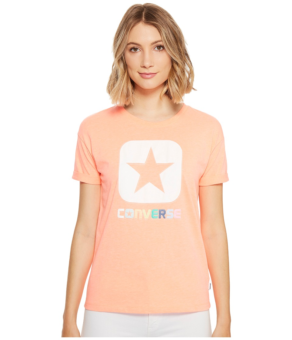 Converse - Embroidered Box Star Easy Crew Tee (Light Orange) Women's T Shirt