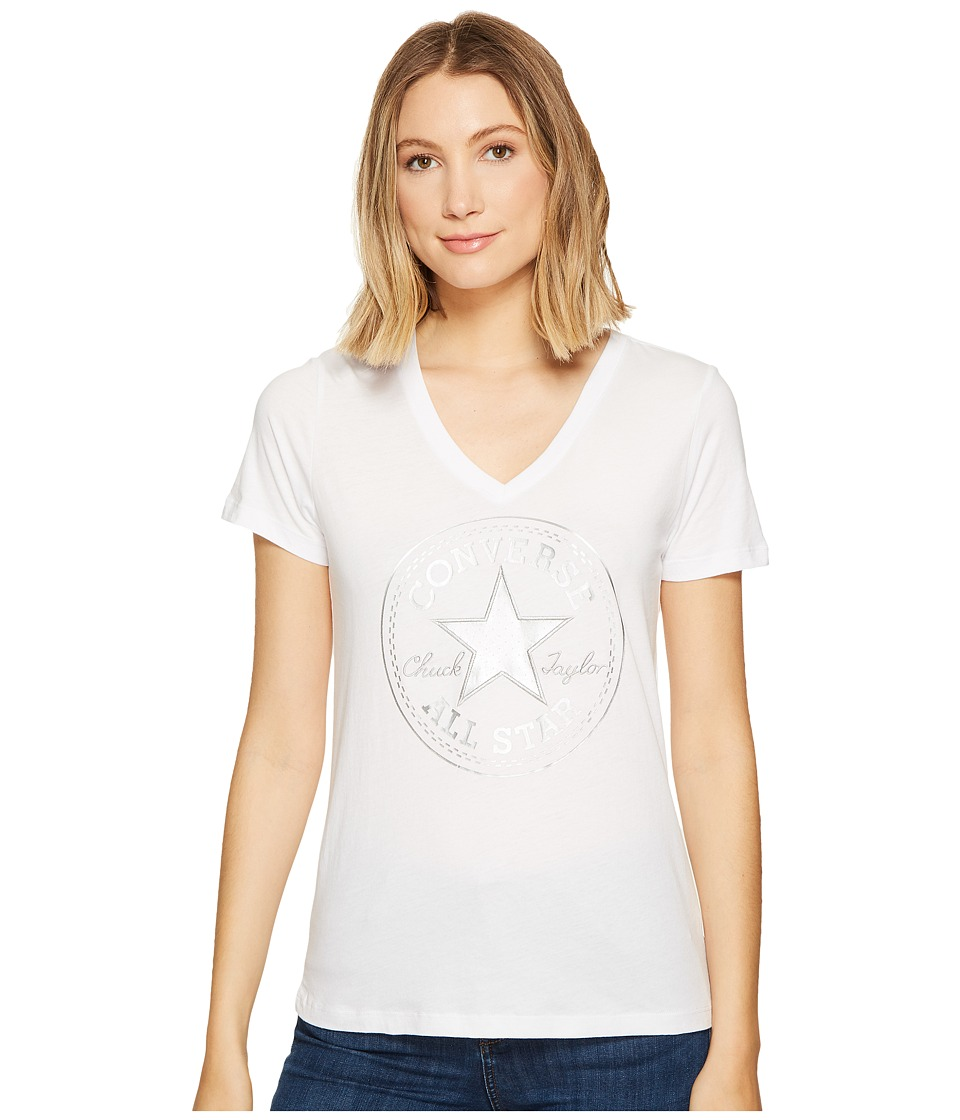Converse - Metallic Chuck Patch V-Neck Tee (Optical White) Women's T Shirt