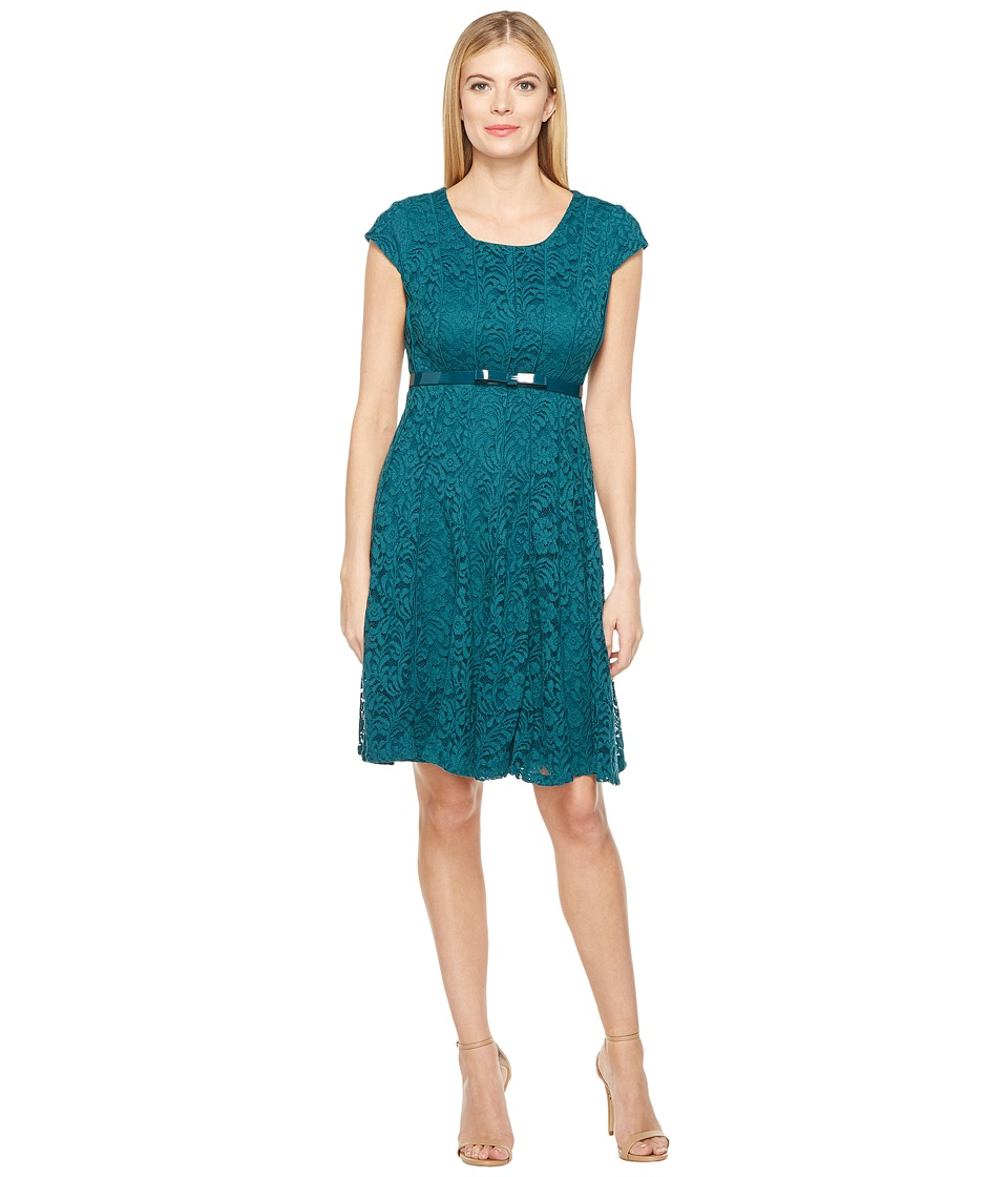 Christin Michaels - Collins Paneled Fit and Flare (Emerald) Women's Dress