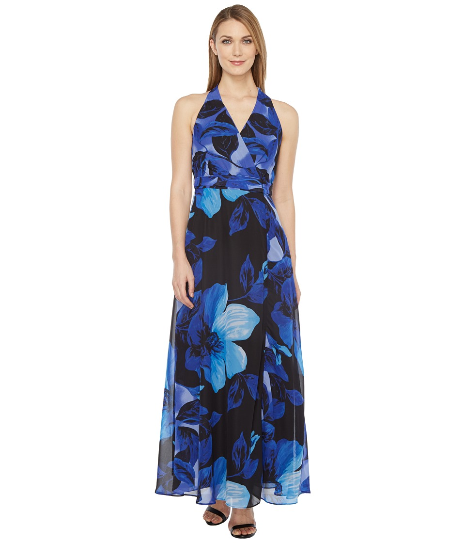 Christin Michaels - Braeburn Chiffon Maxi Dress (Black/Marine) Women's Dress