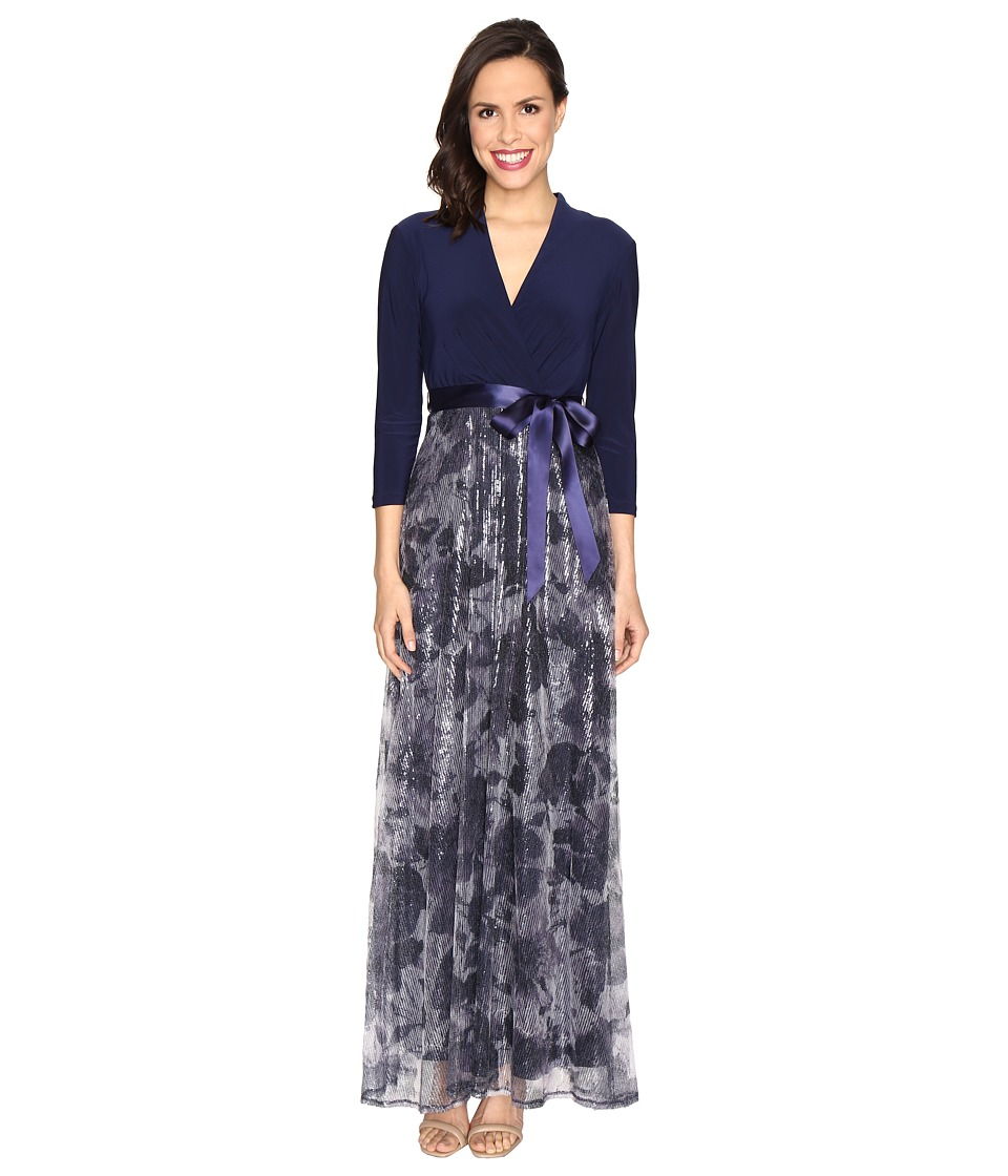 Christin Michaels - Anna Sequin Maxi Dress (Navy/Ivory) Women's Dress