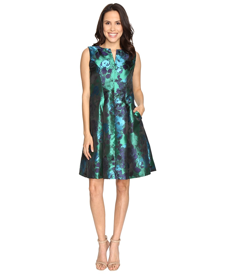 Christin Michaels - Aurora Brocade Panel Dress (Navy/Green) Women's Dress