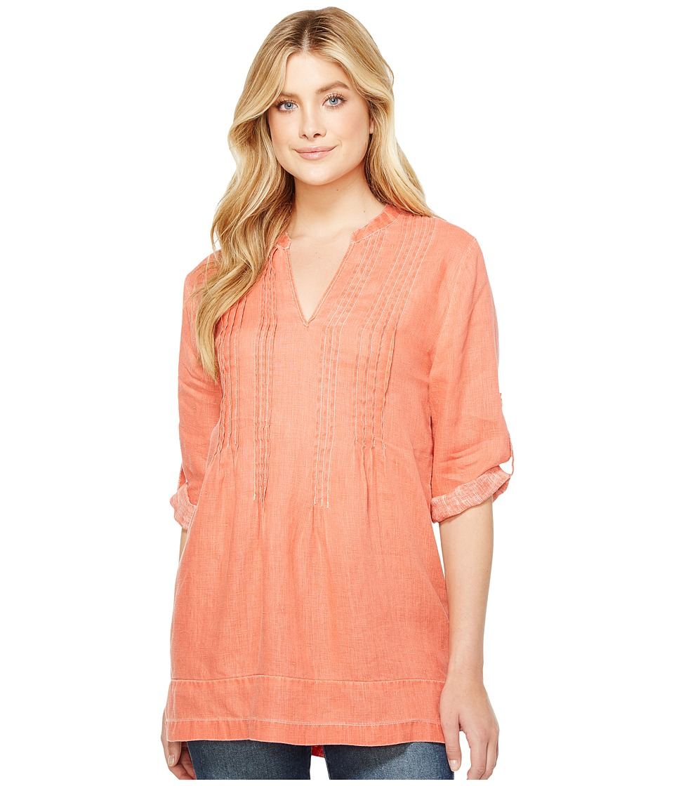 Dylan by True Grit - Pintuck Washed Linen Tunic (Soft Red) Women's Dress