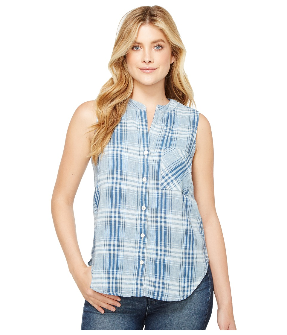 Dylan by True Grit - Genuine Indigo Linens Hayley Sleeveless Shirt Denim Small Plaids (Denim) Women's Clothing