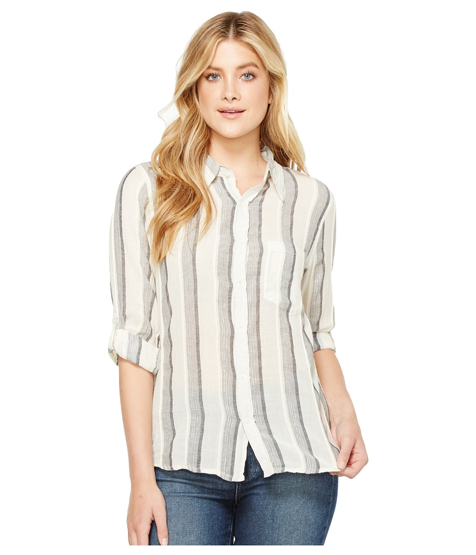 Dylan by True Grit Havana Stripe One-Pocket Roll Sleeve Shirt (Natural/Soft Black) Women