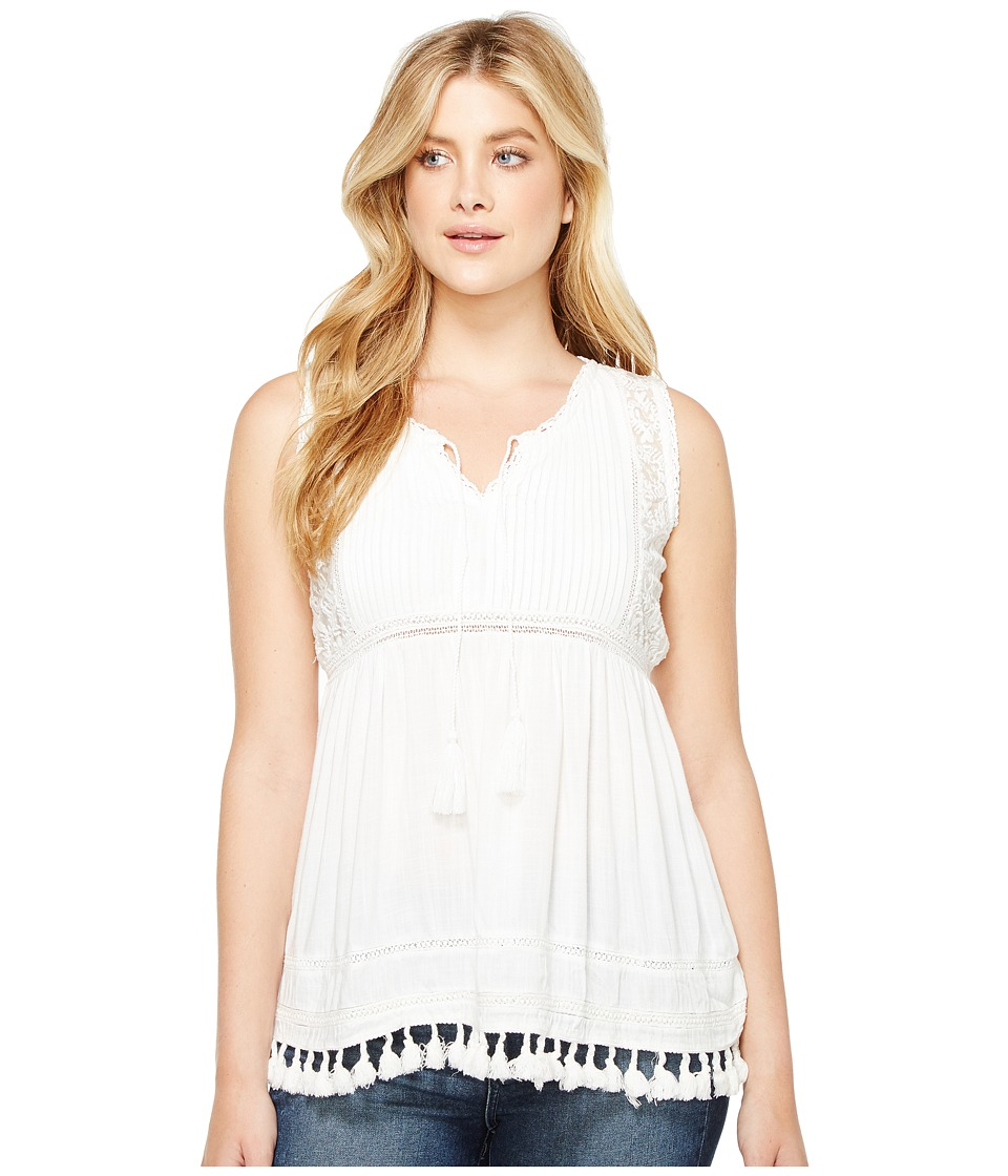 Dylan by True Grit - Fringed Coquette Lace and Crochet Blouse (Soft White) Women's Sleeveless