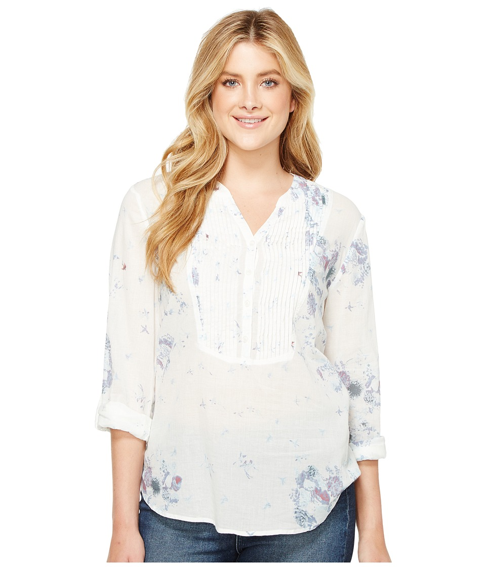 Dylan by True Grit - Flower Child Pintuck Blouse w/ Roll Sleeves (Denim) Women's Clothing