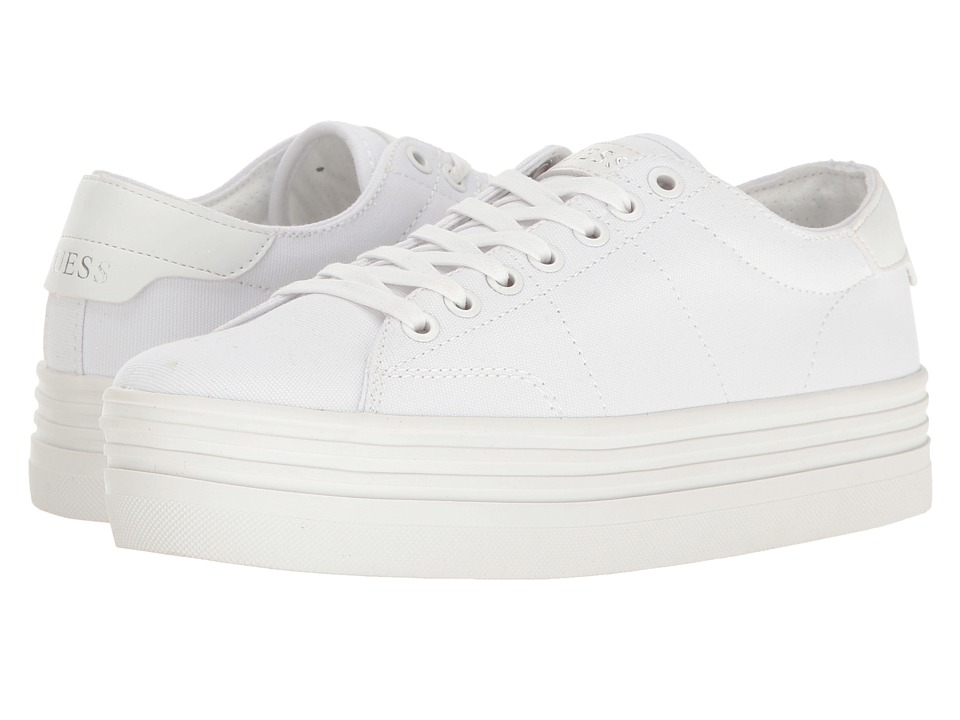 GUESS - Alexea (White Canvas) Women's Lace up casual Shoes