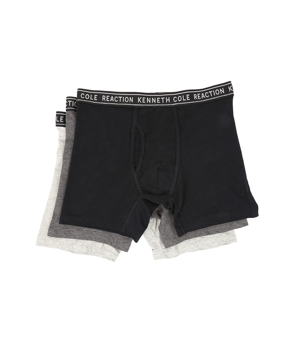Kenneth Cole Reaction - 3-Pack Boxer Brief - Cotton Stretch (Black/Dark Grey Heather/Light Grey Heather) Men's Underwear
