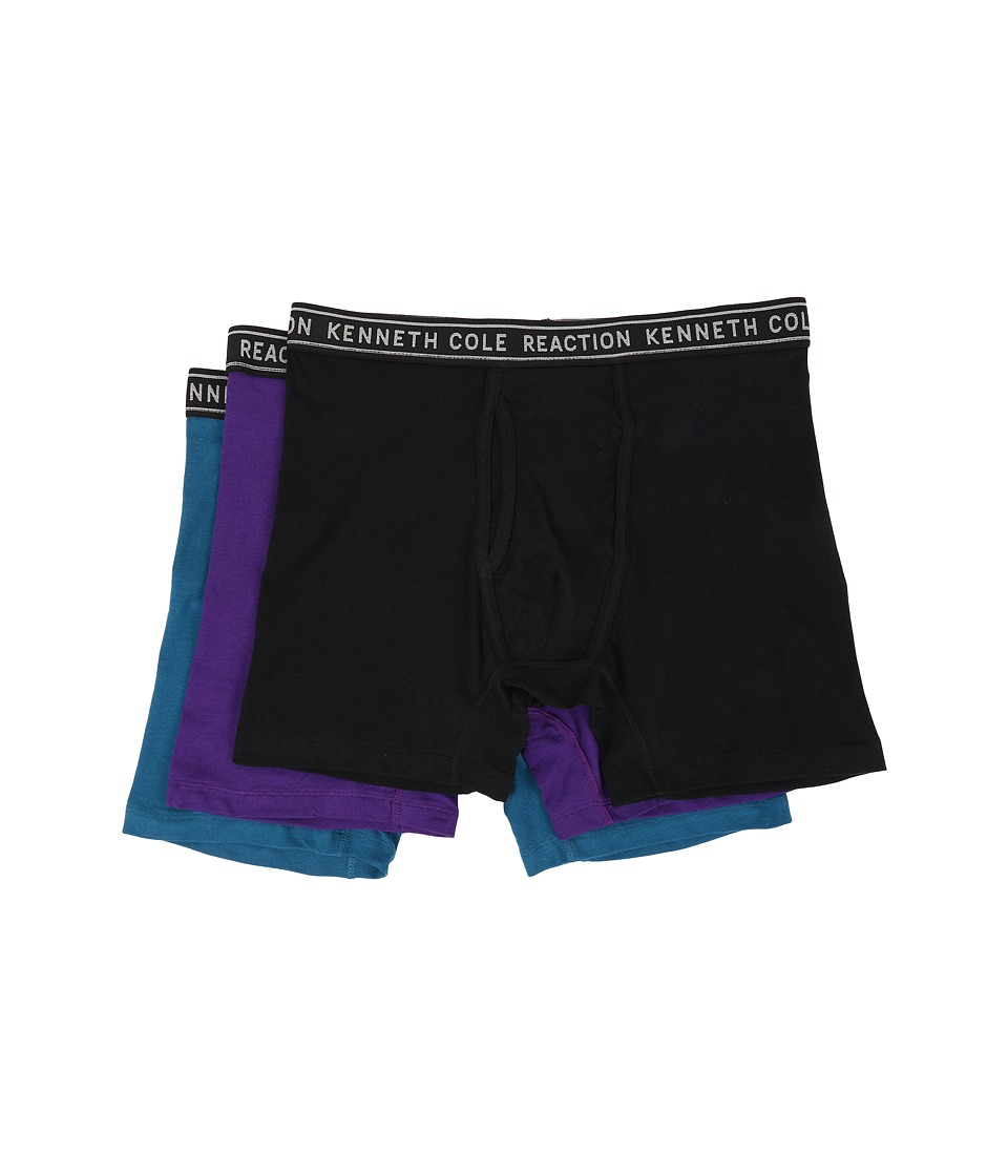 Kenneth Cole Reaction - 3-Pack Boxer Brief - Cotton Stretch (Black/Purple/Moroccan Blue) Men's Underwear