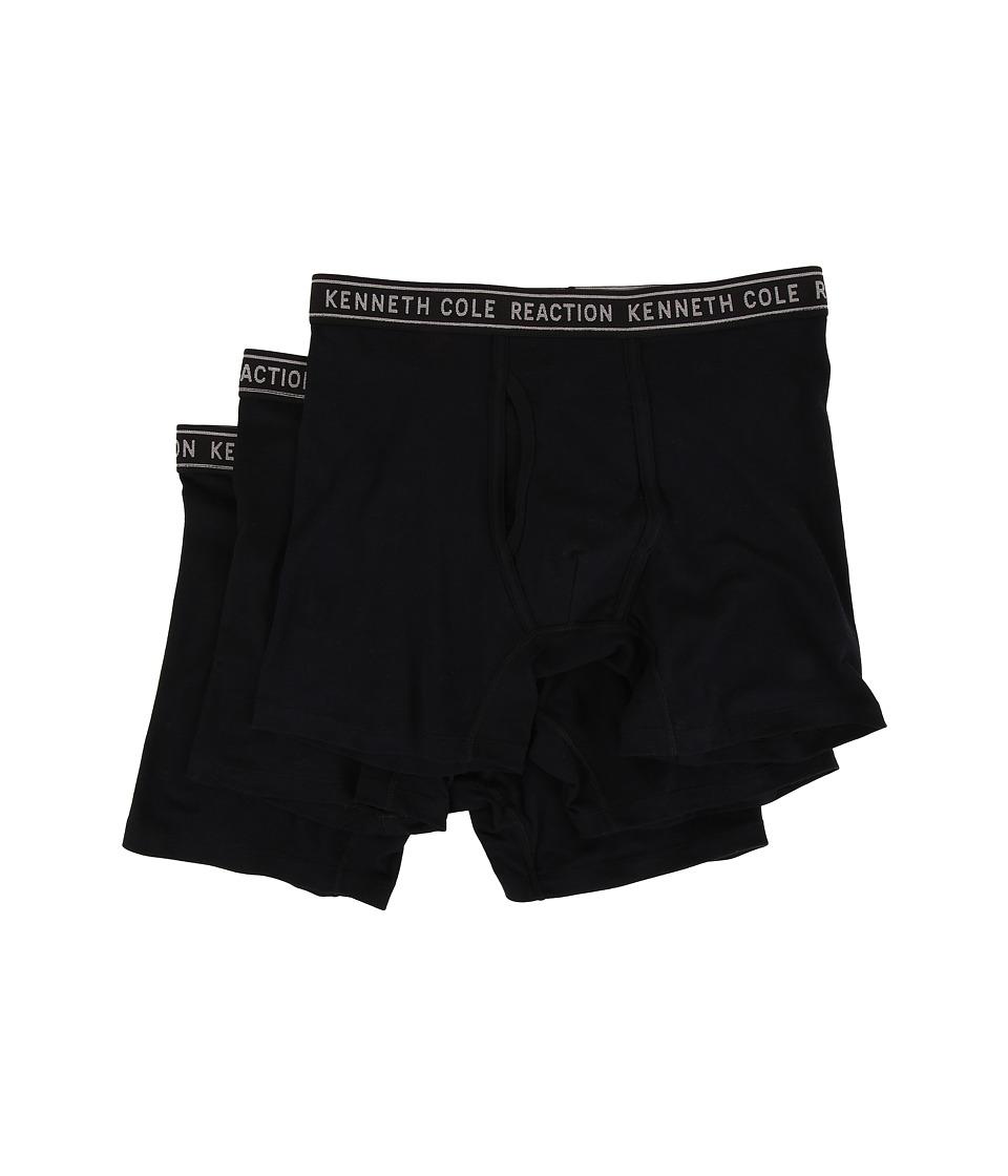 Kenneth Cole Reaction - 3-Pack Boxer Brief - Cotton Stretch (Black) Men's Underwear