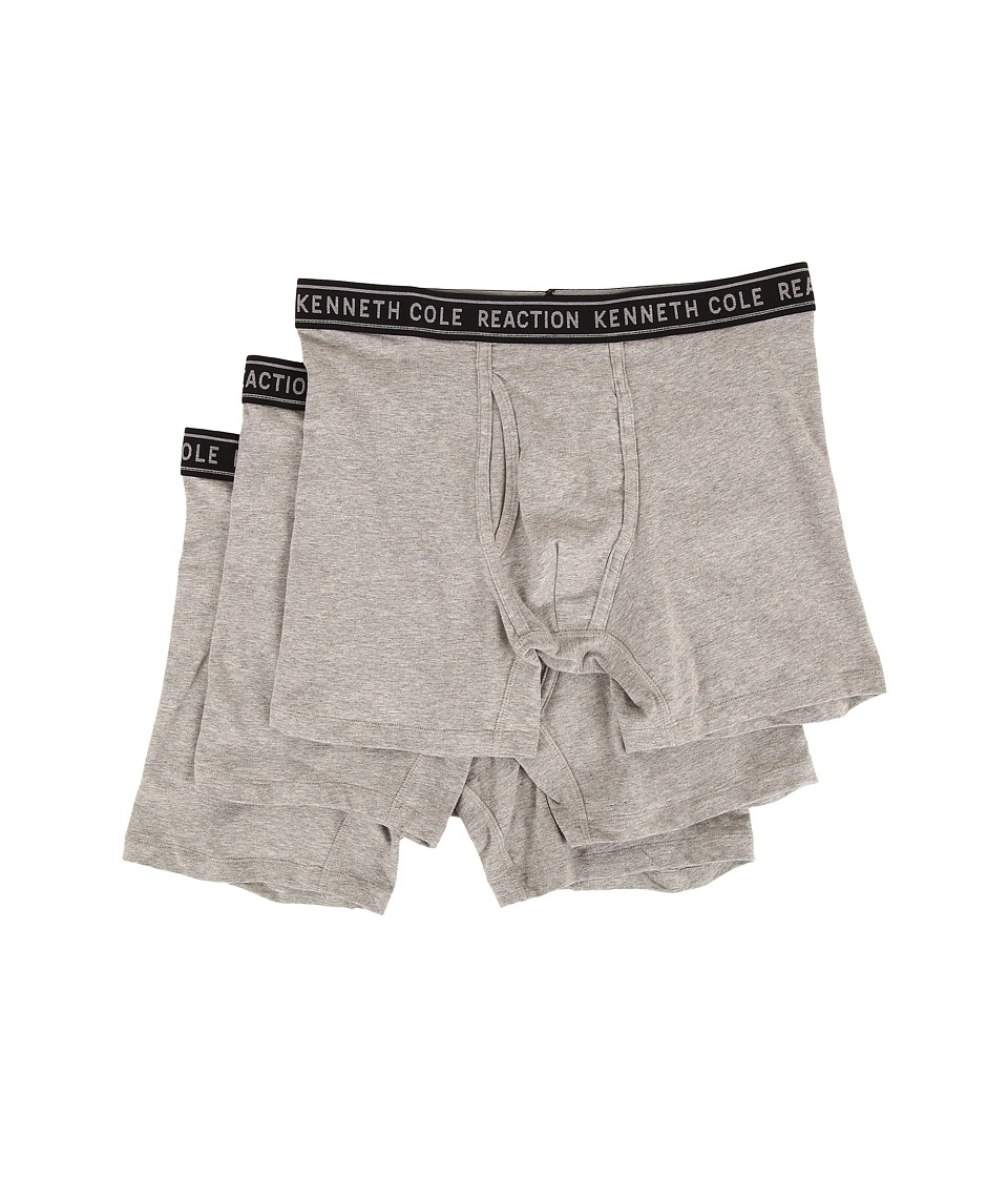 Kenneth Cole Reaction - 3-Pack Boxer Brief - Cotton Stretch (Light Grey Heather) Men's Underwear