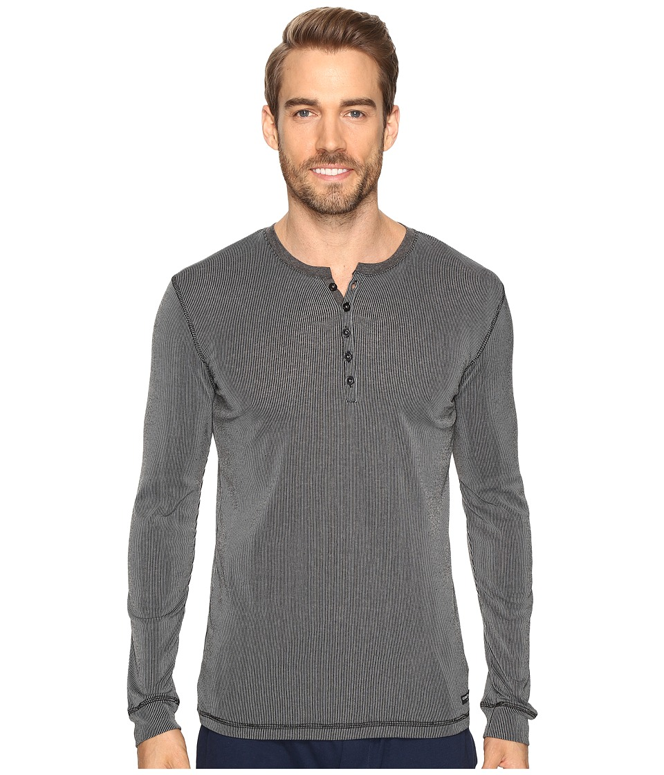 Kenneth Cole Reaction - Ribbed Henley (Black) Men's Pajama