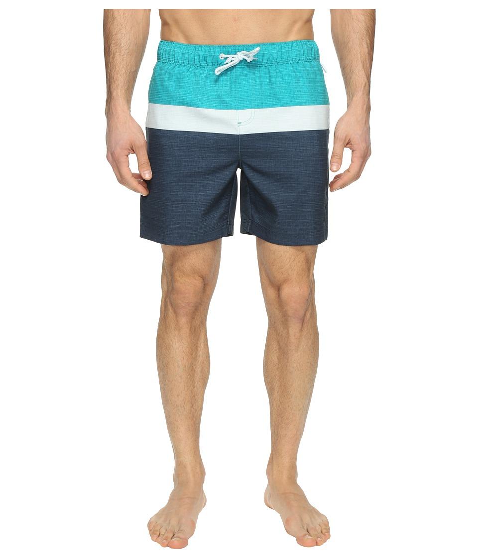 Original Penguin - Color Blocked Elastic (Bright Aqua) Men's Swimwear