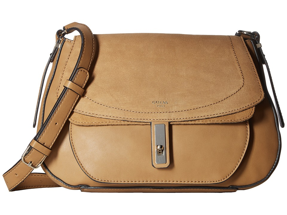 GUESS - Kingsley Crossbody Flap (Cognac) Satchel Handbags