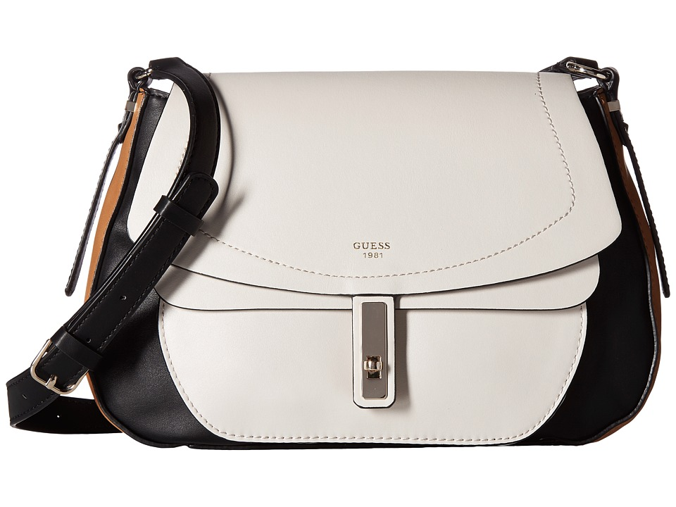 GUESS - Kingsley Crossbody Flap (Stone Multi) Cross Body Handbags