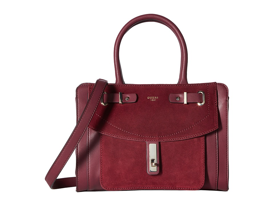 GUESS - Kingsley Small Satchel (Bordeaux) Satchel Handbags