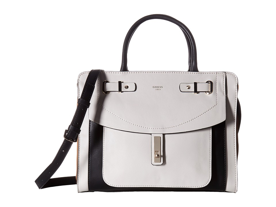 GUESS - Kingsley Girlfriend Satchel (Stone Multi) Satchel Handbags