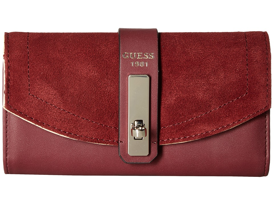 GUESS - Kingsley Slim Clutch (Bordeaux) Clutch Handbags