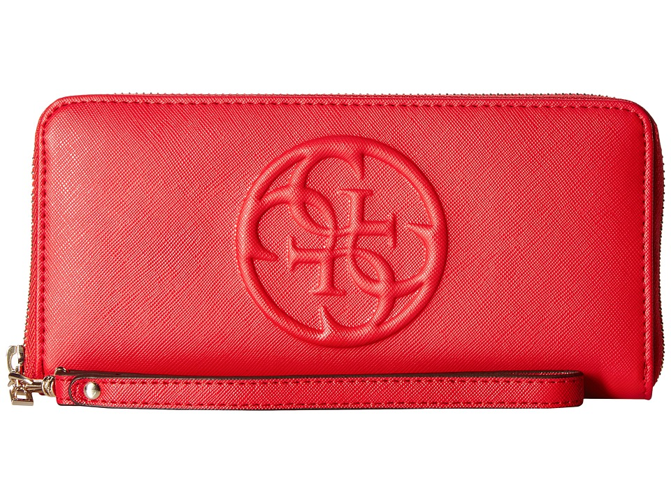 GUESS - Korry SLG Large Zip Around (Cny Red) Handbags