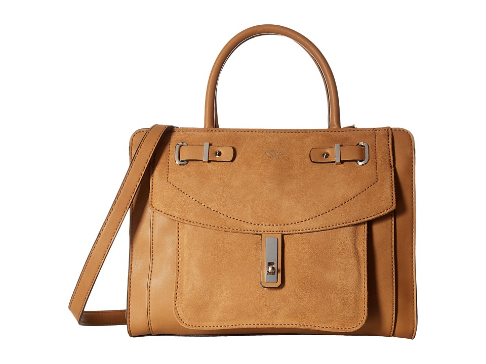 GUESS - Kingsley Girlfriend Satchel (Cognac) Satchel Handbags
