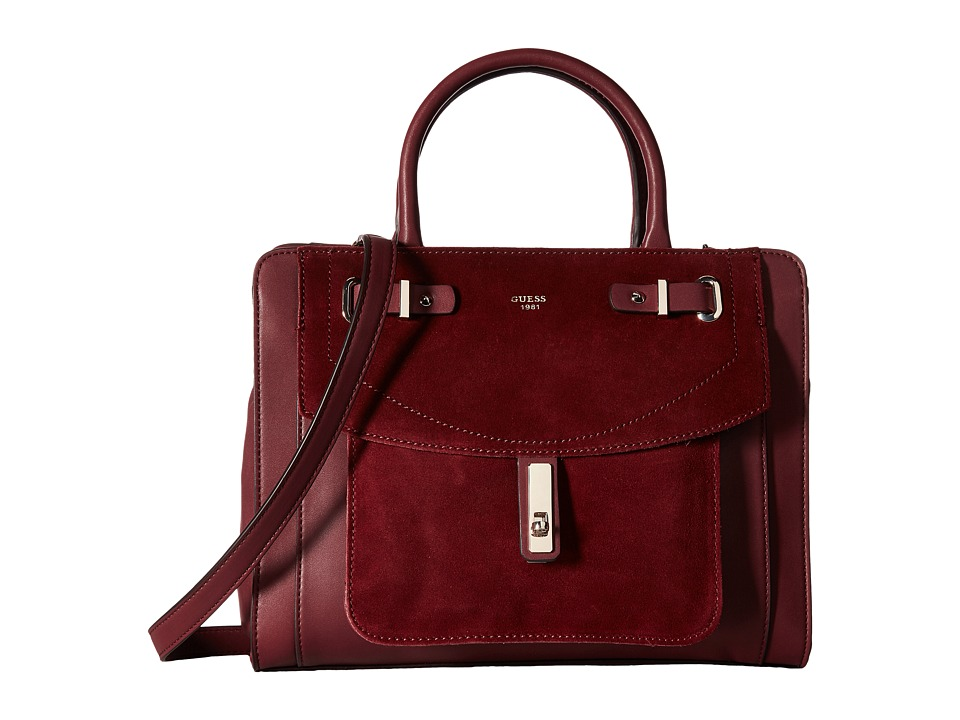 GUESS - Kingsley Girlfriend Satchel (Bordeaux) Satchel Handbags