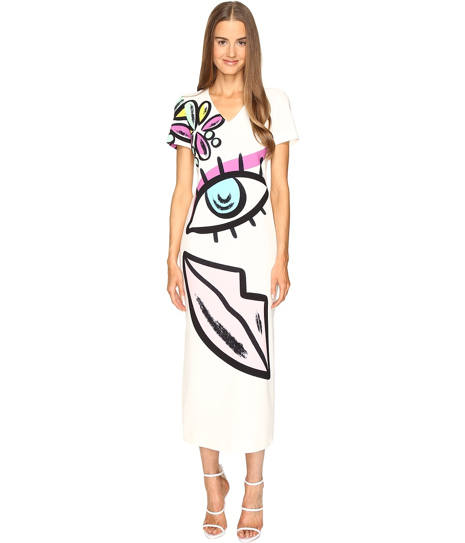 Boutique Moschino - Face Print Tunic (White Multi) Women's Dress
