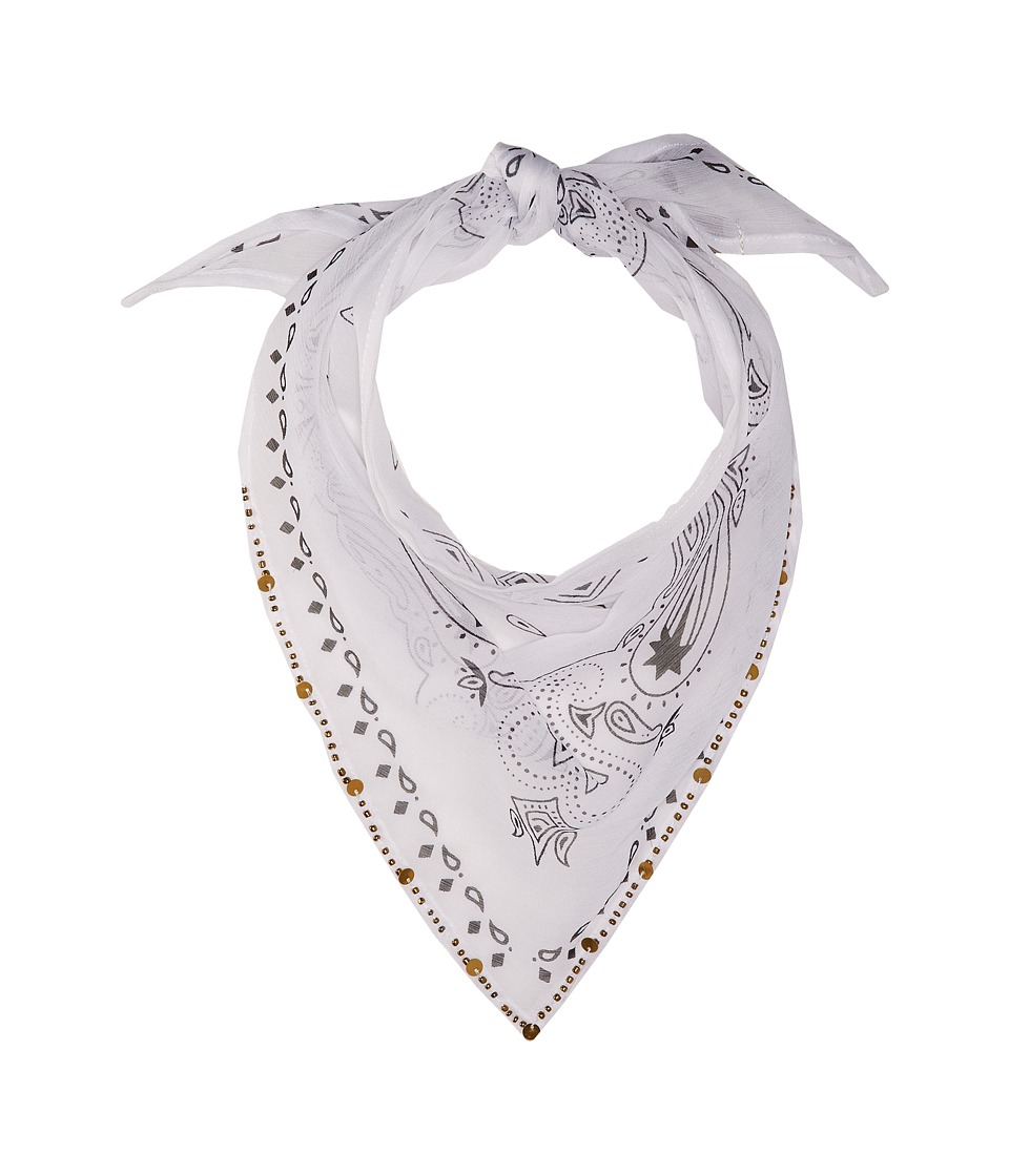 Michael Stars - Embellished Bandit Triangle Scarf (White) Scarves