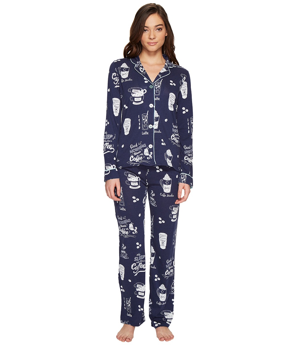 P.J. Salvage - But First, Coffee PJ Set (Navy) Women's Pajama Sets