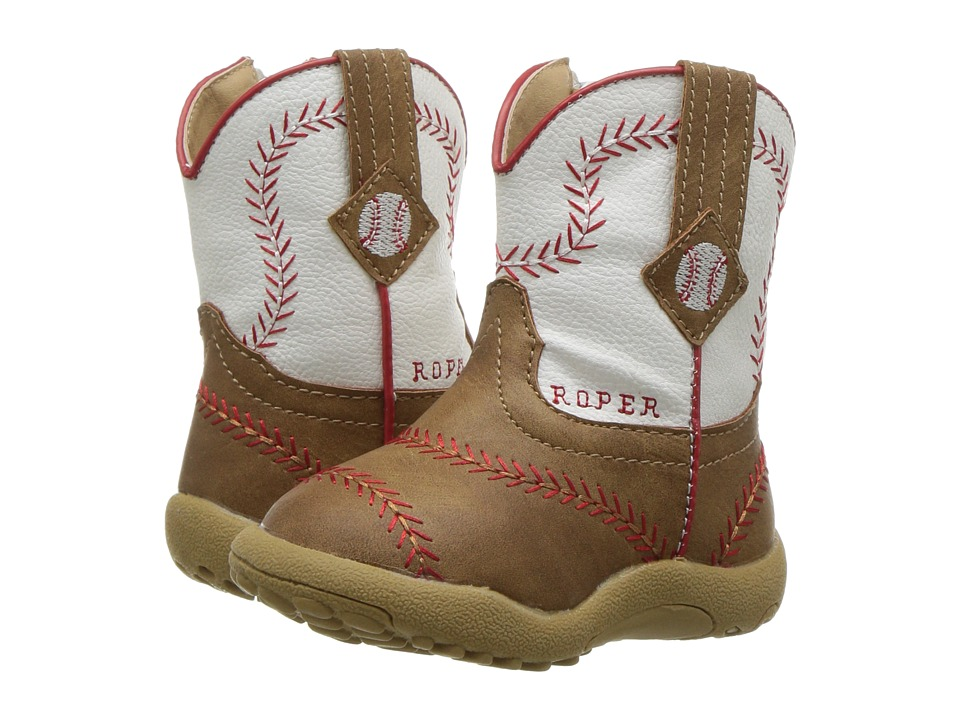 Roper Kids - Baseball (Infant/Toddler) (Brown Faux Leather Vanp White Shaft) Cowboy Boots