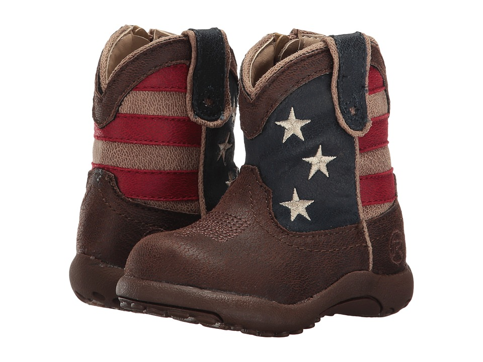 Roper Kids - American Patriot (Infant/Toddler) (Brown Faux Leather Vamp Stars & Stripes Shaft) Cowboy Boots