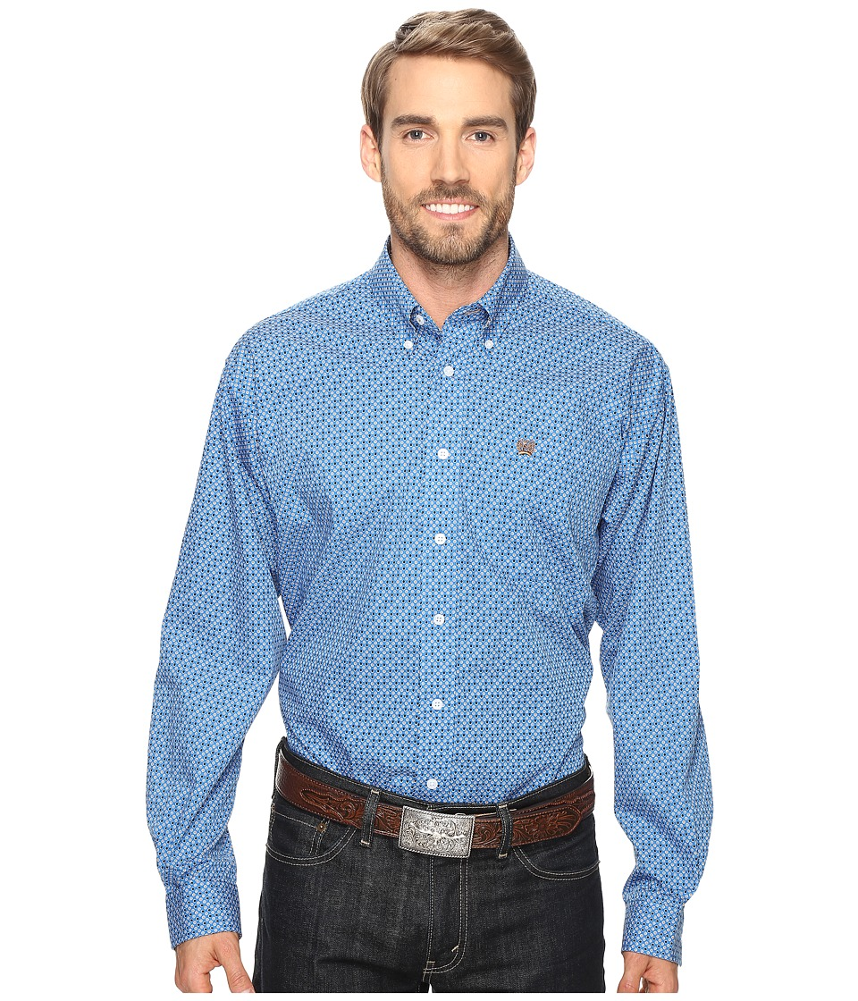 Cinch - Long Sleeve Plain Weave Print (Blue 2) Men's Long Sleeve Button Up