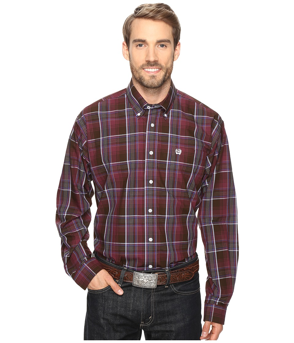 Cinch - Long Sleeve Plain Weave Plaid (Burgundy) Men's Long Sleeve Button Up