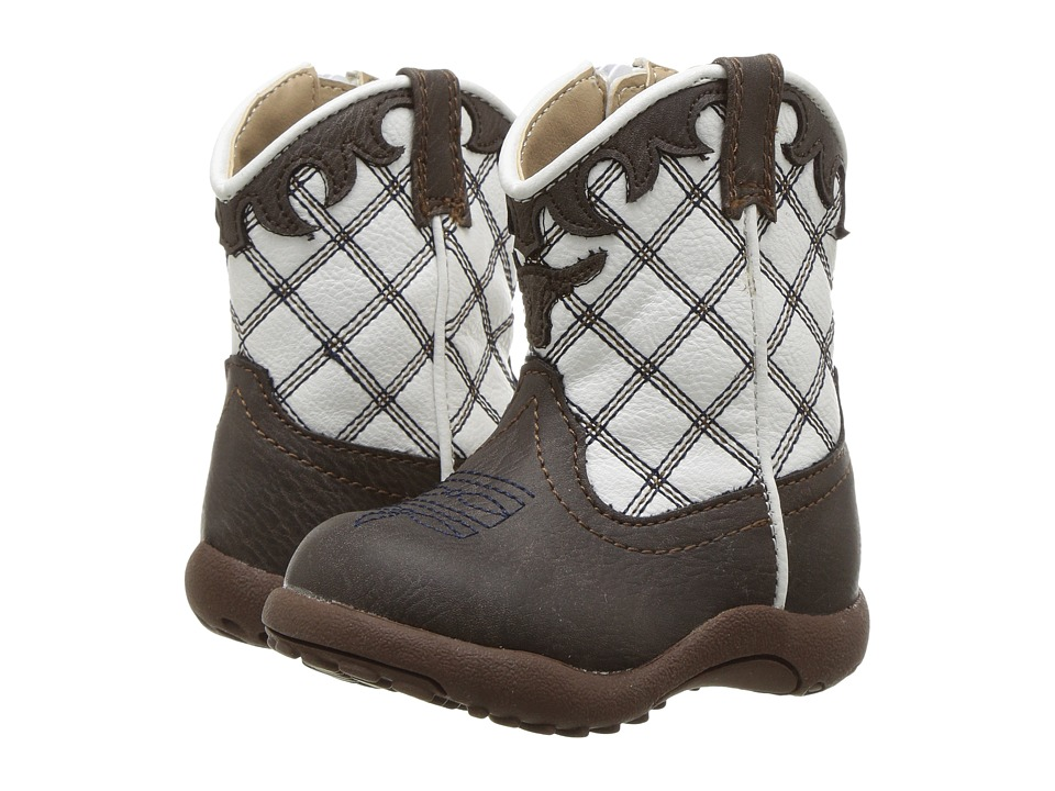 Roper Kids - Steerhead (Infant/Toddler) (Brown Faux Leather Vamp White Shaft) Cowboy Boots