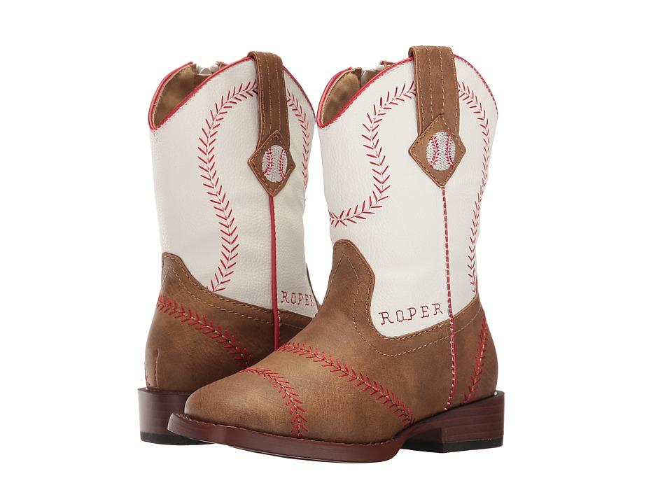 Roper Kids - Baseball (Toddler) (Brown Faux Leather Vamp White Shaft) Cowboy Boots