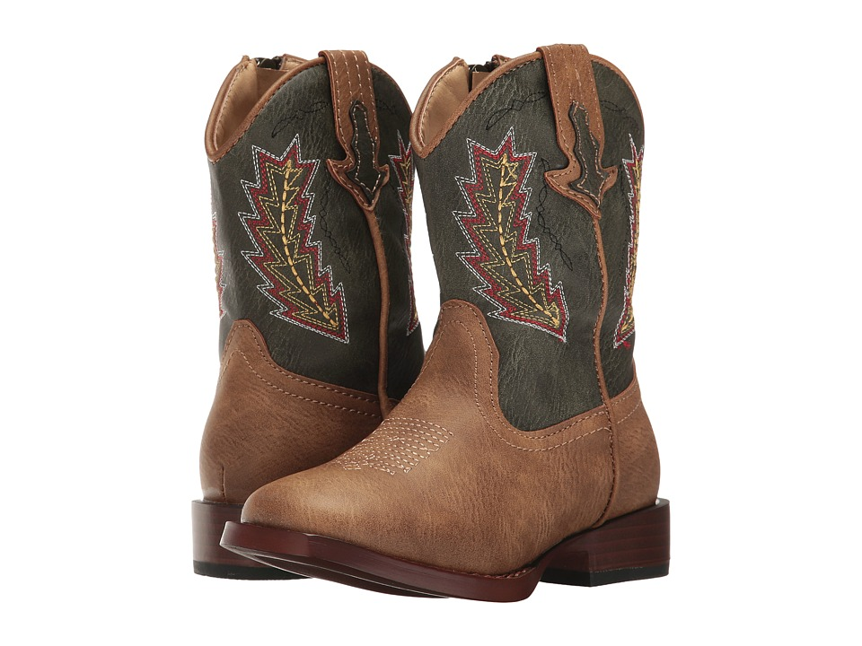 Roper Kids - Arrowheads (Toddler) (Brown Faux Leather Vamp Green Shaft) Cowboy Boots