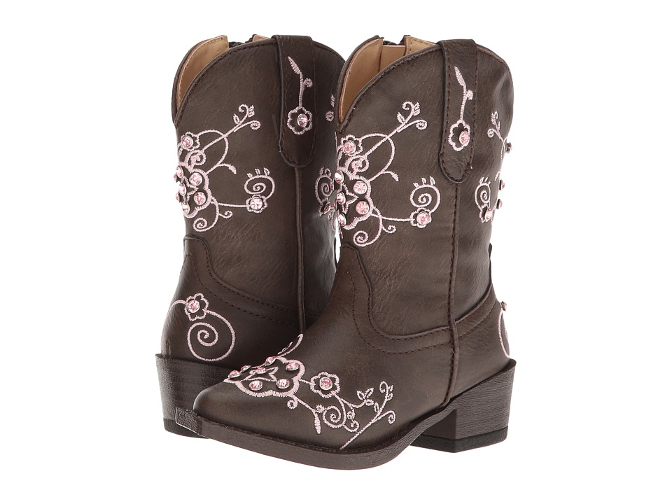 Roper Kids - Flower Sparkles (Toddler) (Brown Faux Leather Vamp & Shaft) Cowboy Boots