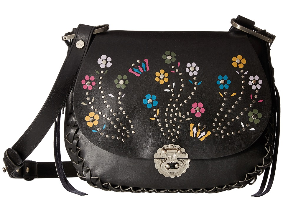 Circus by Sam Edelman - Marley Embroidered Saddle Crossbody (Black/Flower/Studs) Cross Body Handbags