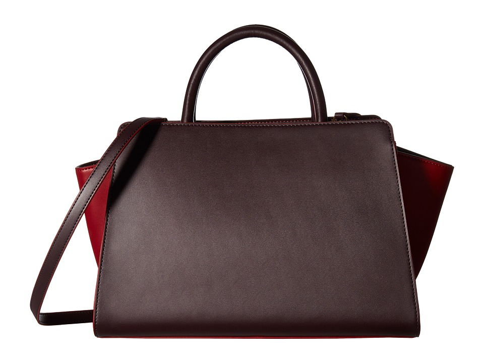 ZAC Zac Posen - Eartha Iconic East/West Satchel (Cardinal/Merlot Color Block) Satchel Handbags