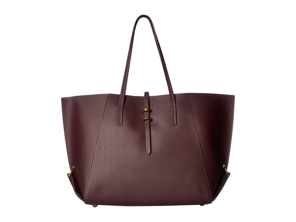 ZAC Zac Posen - Eartha Folded Gusset Shopper (Merlot) Handbags