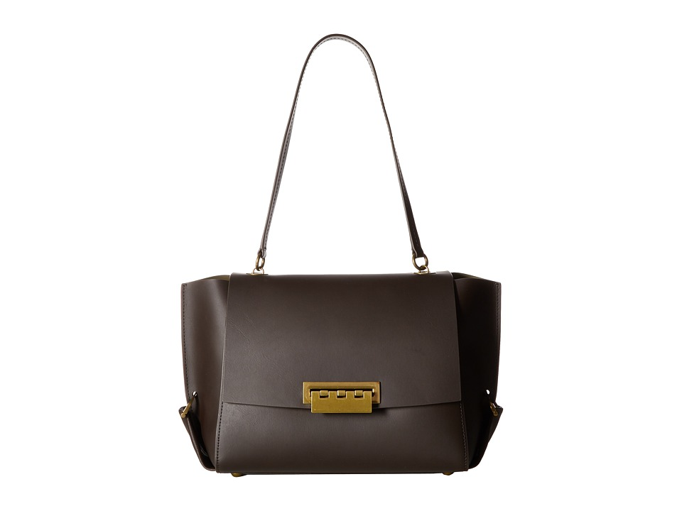 ZAC Zac Posen - Eartha Folded Gusset Shoulder Flap (Brown) Satchel Handbags