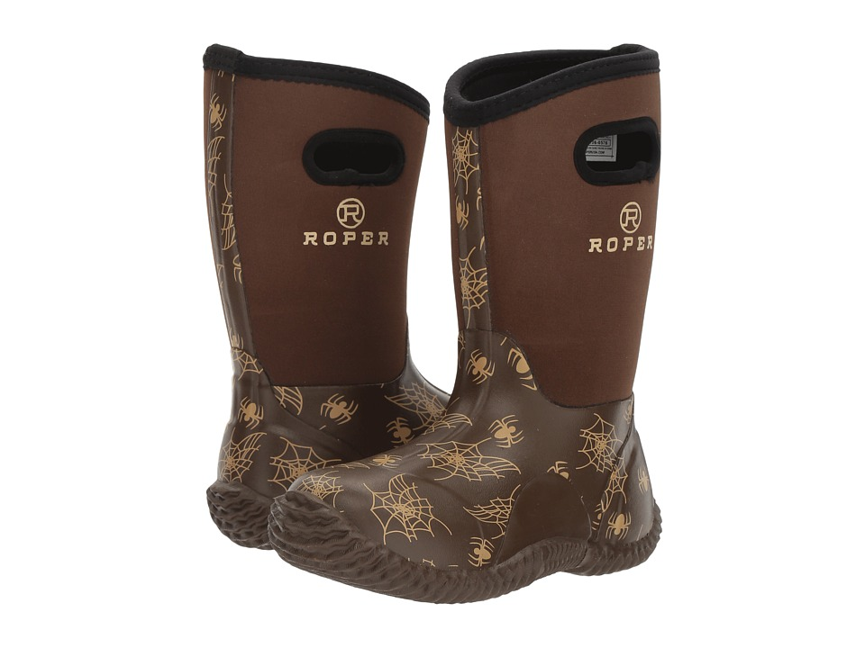Roper Kids - Spidy (Toddler/Little Kid) (Spider Print Vamp & Brown Neoprene) Cowboy Boots
