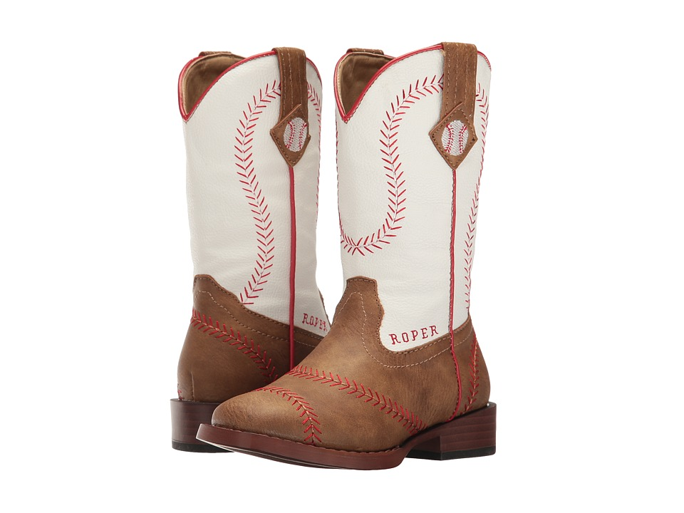 Roper Kids - Baseball (Toddler/Little Kid) (Brown Faux Leather Vamp White Shaft) Cowboy Boots