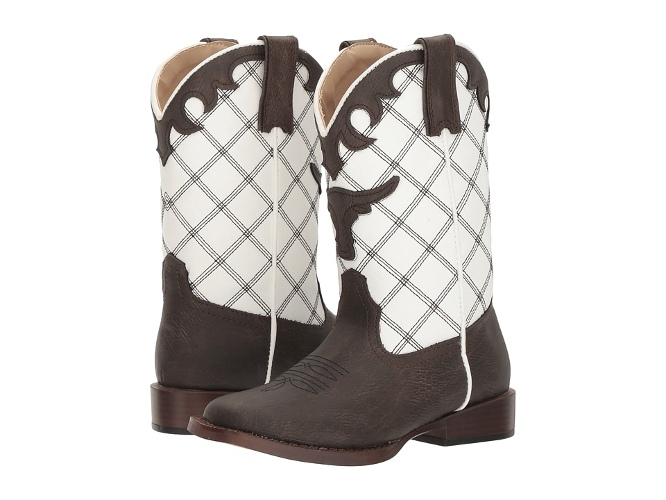 Roper Kids - Steerhead (Toddler/Little Kid) (Brown Faux Leather Vamp White Shaft) Cowboy Boots