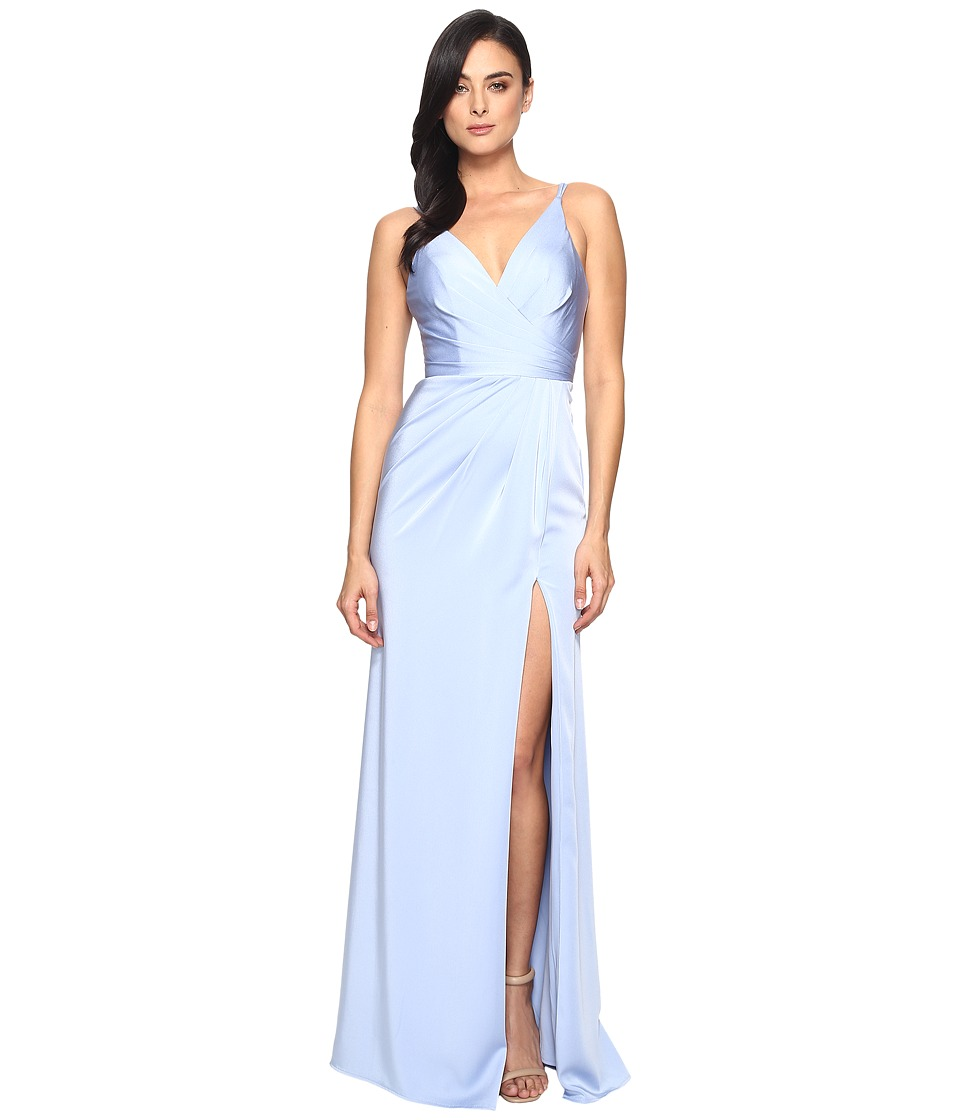 Faviana Satin Faille V-Neck Gown Lightly Rouched Bodice Delicate Draping On Skirt 7755 Periwinkle Dress
