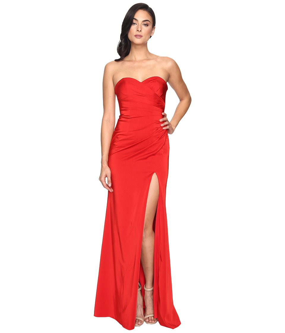 Faviana Faille Satin Strapless Side Draping 7891 Red Dress