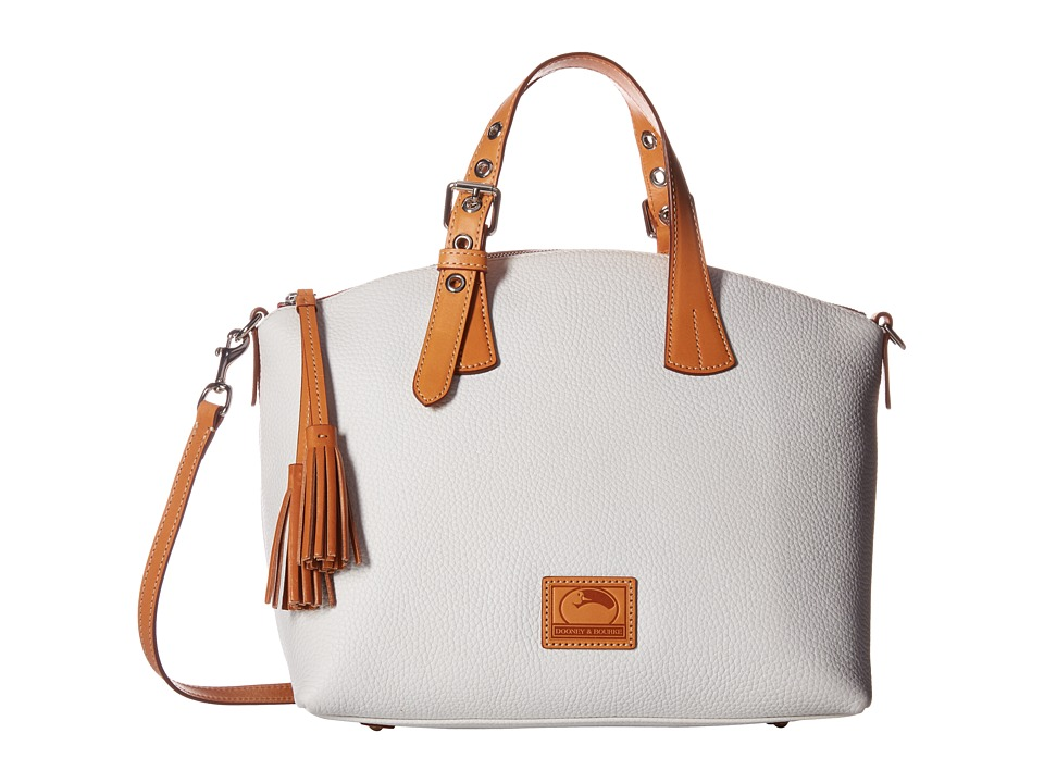 Dooney & Bourke - Patterson Large Trina Satchel (White/Butterscotch Trim) Satchel Handbags