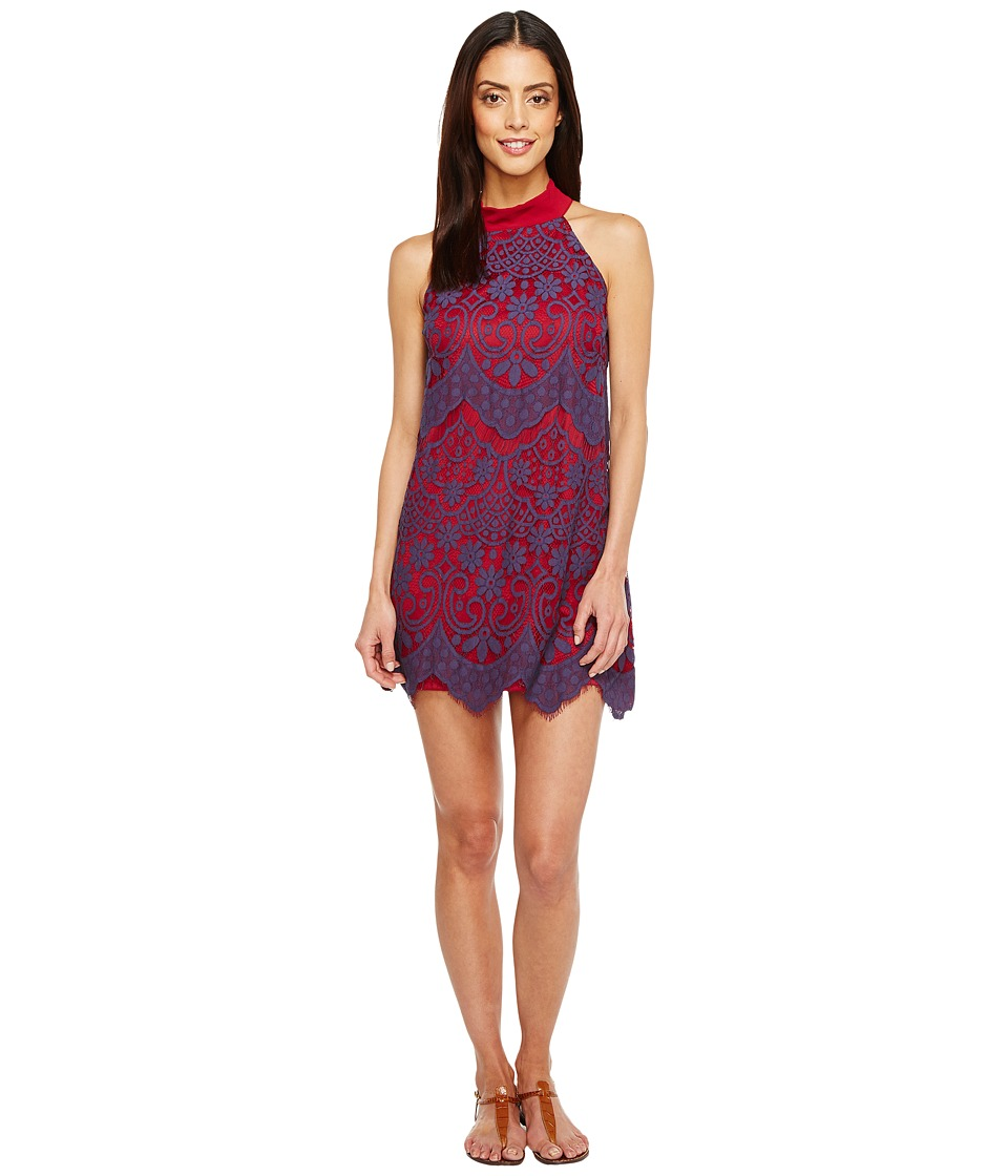 Brigitte Bailey - Savina High Neck Lace Dress (Navy/Burgundy) Women's Dress