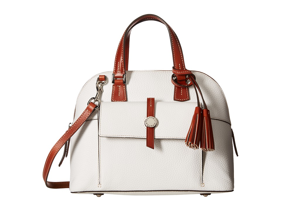 Dooney & Bourke - Cambridge Zip Satchel (White/Tan Trim) Satchel Handbags