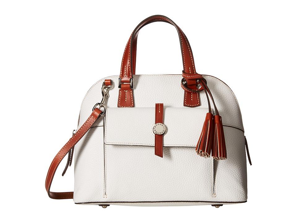 Dooney & Bourke - Cambridge Zip Satchel (White/Tan Trim) Satchel Handbags